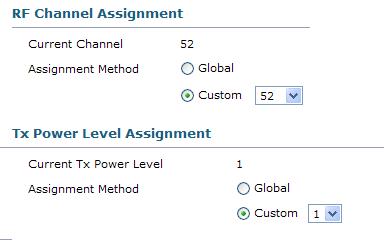 tx power level assignment custom